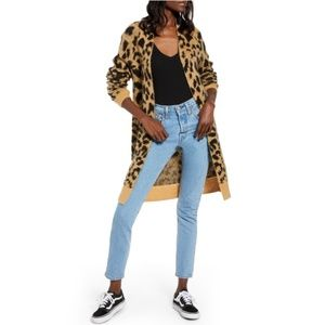 Bp Long Leopard Jacquard Cardigan